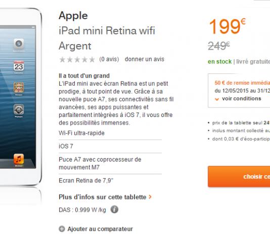 [Bon plan] iPad Mini Retina et iPad Air : -50€ grâce à Orange 3