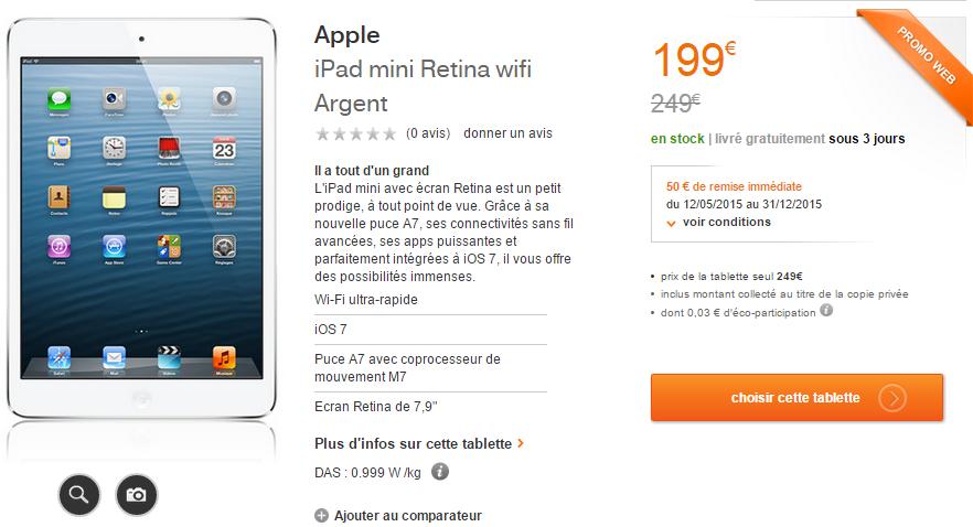 [Bon plan] iPad Mini Retina et iPad Air : -50€ grâce à Orange