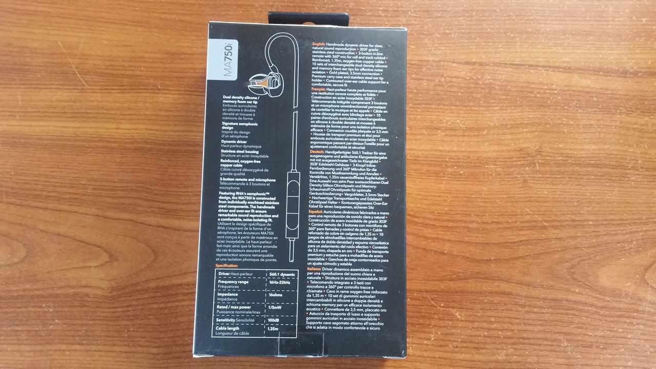 Test et avis écouteurs intra auriculaire RHA 750i. dos boite
